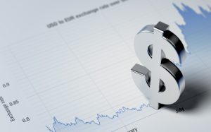 USD Dollar Sign on A Blue Financial Graph